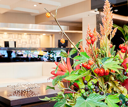 the luxurious atmosphere of our front lobby